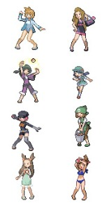 Eight pigeon-toed female trainers